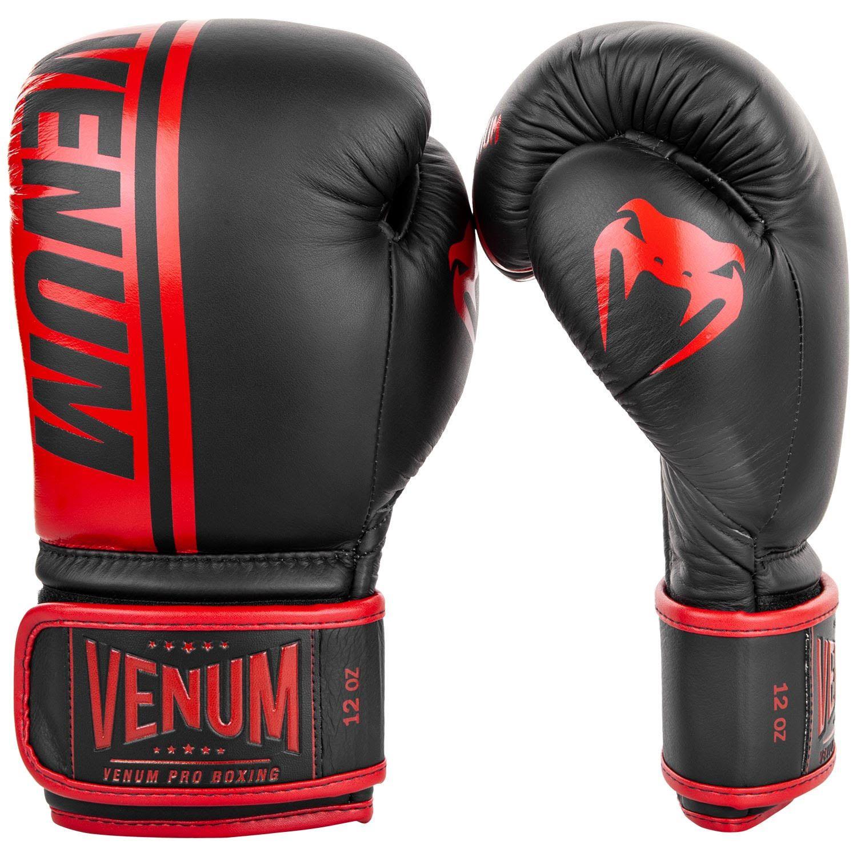 VENUM SHIELD PRO BOXING GLOVES VELCRO - BLACK/RED - BLACK/RED