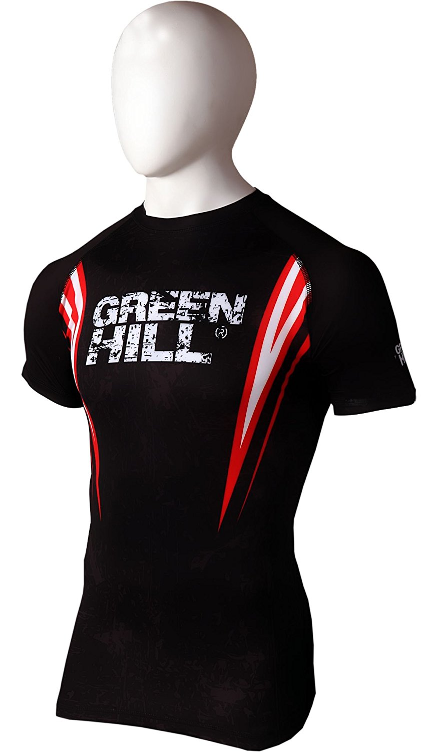 GREEN HILL RASH GUARD BLACK/RED-S/S