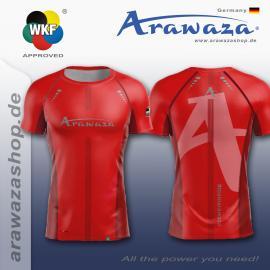 ARAWAZA DRY-TECH SPORTS TEE SHIRT RED/BLUE/BLACK