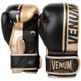 VENUM SHIELD PRO BOXING GLOVES VELCRO - BLACK/GOLD - BLACK/GOLD