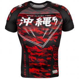 VENUM OKINAWA 2.0 RASHGUARD BLACK/WHITE-RED SHORT SLEEVE