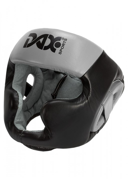 HEAD GUARD,REBOUND SPARRING,LEATHER,BLACK/GREY